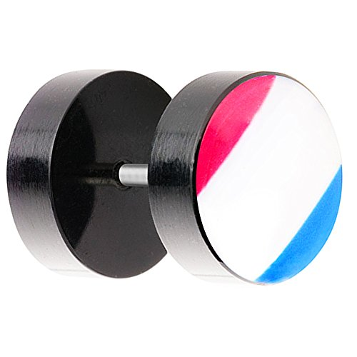 Piersando Ohrstecker Ohrringe Piercing Fake Ohr Plug Flesh Tunnel Fahne Motiv Fussball EM & WM Fanartikel Land Flagge Schmuck Frankreich 8mm