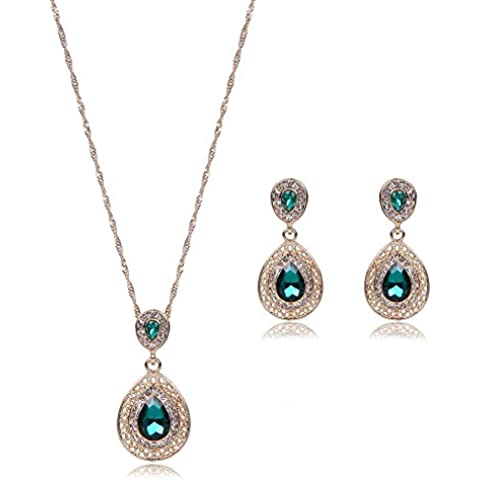 Donne oro placcato pendente di cristallo sottile collana orecchini gioielli Set , (Cristallo Turchese Croce)