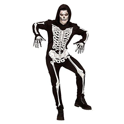 Imagen de disfraz adulto de esqueleto widmann glow in the dark, mono con capucha y guantes alternativa