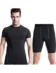 ropa de entrenamiento aptitud de los deportes de los hombres y ajustados traje de la transpiración de secado rápido pantalones cortos de manga corta 1003 + 1004 + , black , xxxl