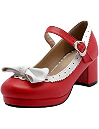 fb5fa0e8a1b7ee YE Damen Ankle Strap Rockabilly Pumps Blockabsatz Plateau High Heels  Geschlossen mit Schnalle…
