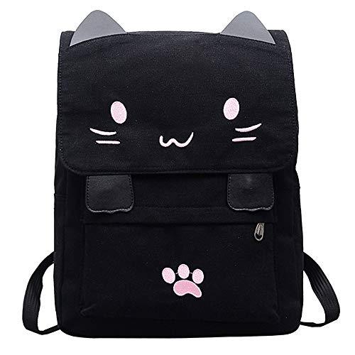 Hniunew Paket Cat Tier Rucksack Damentasche Leinentasche Cartoon Backpacks Daypack UmhäNgetasche Schultertasche ReißVerschluss-Rucksack Schulranzen Schulmappe Hippie Sporttasche Reisetasche