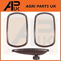 "APUK Pair of Universal Wing Mirror Head & Glass 10"" x 6"" Tractor Digger Lorry Truck"