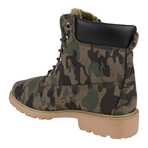 Stiefelparadies Warm Gefütterte Worker Boots Damen Schuhe Outdoor Stiefeletten Robust 152286 Camouflage Avelar 39 | Flandell® - 2