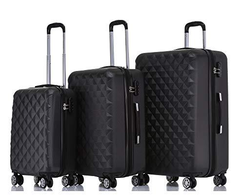 BEIBYE Trolley Koffer Reisekoffer Reisekofferset Gepäckset Kofferset 4 Zwillingsrollen Hartschale (Schwarz)