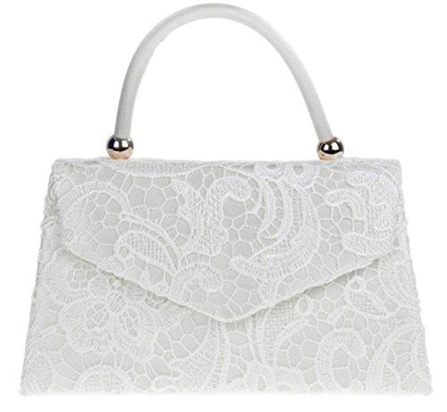Girly HandBags Spitze Satin Spitzenhandgriff Griff Handtasche Eleganter Hochzeit Party Vintage Designer Inspiriert Damenmode -