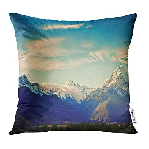Dekokissenbezug Sky New Zealand Scenic Mountain Landscape Shot at Mount Cook National Park View Decorative Pillow Case Home Decor Square 18x18 Inches Pillowcase