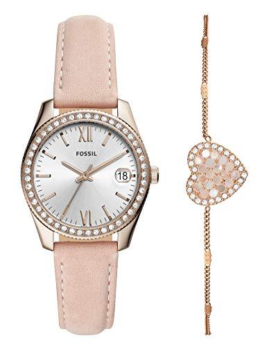 Fossil Damen Analog Quarz Uhr mit Leder Armband ES4607SET
