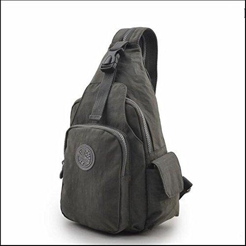 WYM Brusttasche Männer und Frauen Reisen Mode Lässig Kleine Umhängetasche Im Freien Brust und Rücken Dual-Use-Wasserdichten Nylon-Tuch Rucksack,Gray