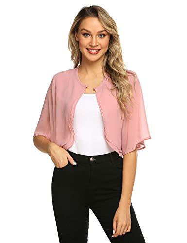 Parabler Damen Festlich Chiffon Bolero Kurze Ärmel Elegant Jacke Schulterjacke Durchscheinendes Looes Cardigan für Sommer Rosa Pink M
