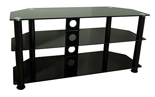 Mountright Glass Tv Stand For 32 Up To 60 Inch (105cm Wide) Led Lcd & Plasma Television (All Black)