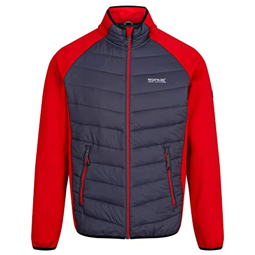Regatta Herren Bestla Stretch Water Repellent Lightweight Insulated Hybrid Down Jacke, Classic Red/Seal Grey, L Jacke Herren Insulated Jacken