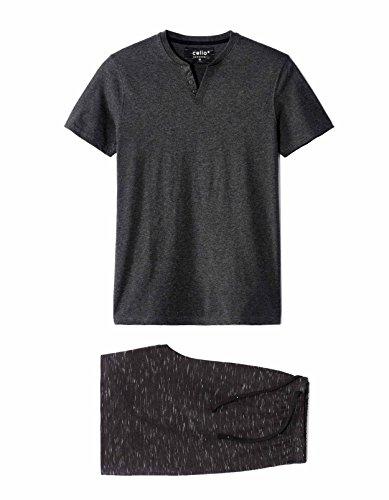 Celio Herren Zweiteiliger Schlafanzug Lipyspace Noir (Anthracite)