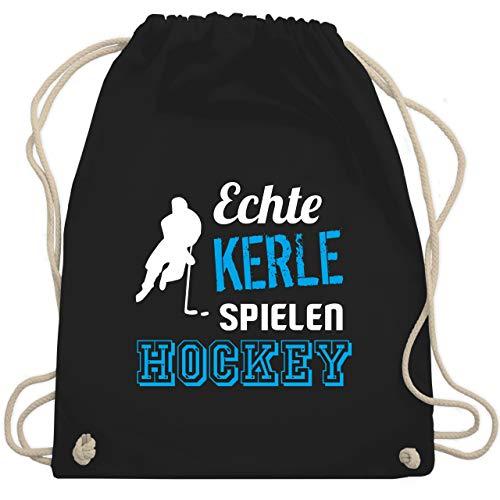 Eishockey - Echte Kerle spielen Hockey - Unisize - Schwarz - WM110 - Turnbeutel & Gym Bag
