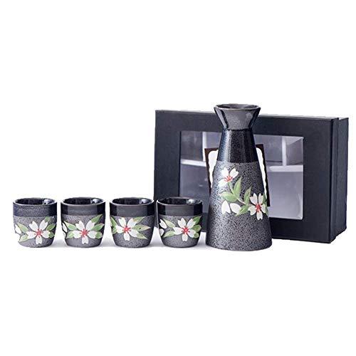 MIRUIKE Sake-Set 5-teilig japanische Sake-Keramik Set mit 1 Tokkuri-Flasche und Sake-Becher Geschenkpackung schwarz Sake-becher-set