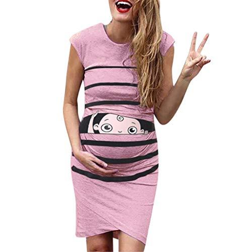 Umstandskleid Sasstaids Frauen Mutterschaft ärmelloses Karikatur-niedliches Druck-Kleid Schwangerschaft-beiläufige Kleider