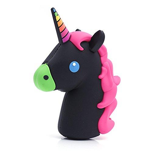 iprotect Emoji-Powerbank 2000mAh Externes Ladegerät im Unicorn-Emoji-Design in Schwarz-Pink für Smartphones und andere Geräte mit USB-Anschluss - inklusive Micro USB-Ladekabel