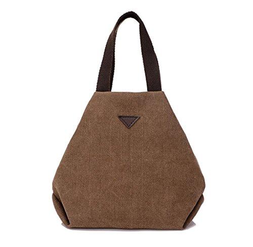 Tongshi Bolso simple grande retro del bolso de Crossbody del hombro de la vendimia del mensajero de las mujeres (café)