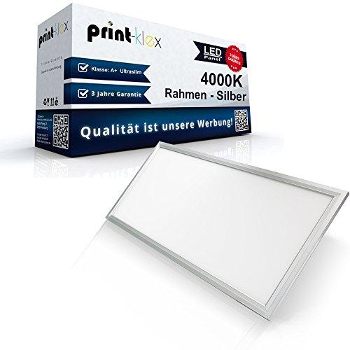 LED Panel Ultraslim 30 x 120cm Deckenlampe Einbaustrahler Lichtlampe 40 W 3600 Lumen 4000 K-Neutralweiß Silberrahmen – Office Pro Serie