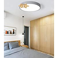 WZJ-Ceiling light Nordic Bedroom Lamp Warm Romantic 3 Color Led New Solid Wood Snowflake Creative Room Lamp Ins Wind Girl Macarons Ceiling Lamp