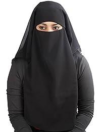 MyBatua 3 Layers Saudi Niqab In Breathable Georgette, Wholesale Price, 1pc Face Veil NQ-003