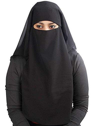 MyBatua 3 Schichten saudi niqab Im atmungsaktiven Georgette, Großhandelspreis, 1 stk Gesichtsschleier NQ-003 (Schwarz)