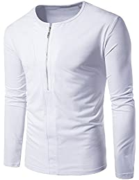 BUSIM Men's Long Sleeved Shirt Fashion Personality Zipper Decoration Casual Slim Cotton Solid Color Shirt Round...