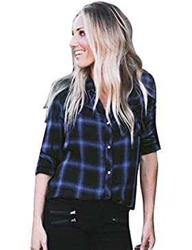 Culater Camisa a Cuadros Mujer Manga Larga Blusa
