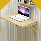 Square Folding Table, Wall Mounted Table Fold Down, Folding Wooden Table, Stable Sturdy Construction, Drop Leaf Tables for Small Spaces (50cm×100cm)