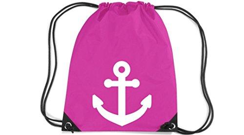 Shirtstown Premium Gymsac Anker Boot Skipper Kapitän, fuchsia