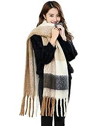 YJZQ Écharpe Laine Doux Écharpe Cachemire Chaud Carreaux avec Franges  Vintage Foulard Acrylique Châle Grand Plaid Motif Cape Femme pour… 3f88be2da06