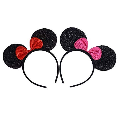 2 Stücke Mickey Minnie Stirnbänder für Geburtstag Halloween Partys Mama Jungen Mädchen Haarschmuck Schöne Maus Ohren Haarreife Dekorationen (Schwarze Glitzer-Rote-Rose-Paillette) (Mickey Und Minnie Halloween)