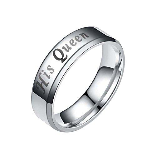 Paar Ring seine Königin ihren König eingraviert Finger Versprechen Valentine Lover Ring Geschenk (Versprechen Ringe Halskette)