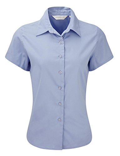 Russell Collection Women's Classic Twill Short Sleeve Shirt Bleu