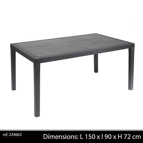 Ipae-progarden - tavolo fisso intrecciato stile rattan colore antracite pri16 150x72x90 cm