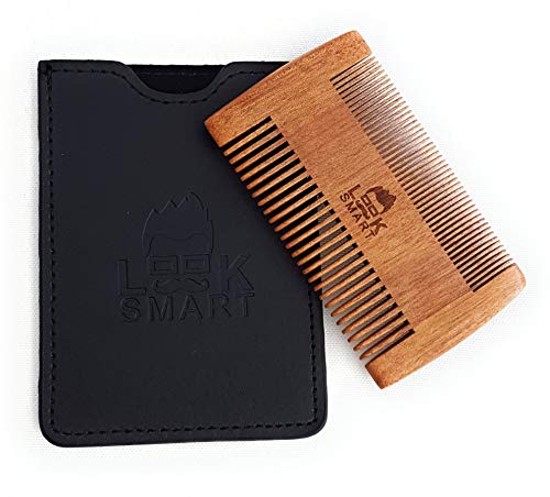 Look Smart – Peine de madera de doble cara para barba – ideal para pelos de cabeza, barba y bigote – Set de regalo pequeño kit de madera cepillo de bolsillo fino peine doble con funda de cuero – peine antiestático