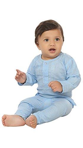 FOCIL Sky Blue Kurta Pyjama for Kids (0-3 Months)