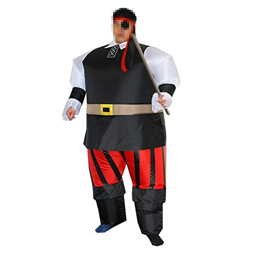 OLLVU Erwachsenen Halloween einäugigen Piraten Bar Mall Performance Requisiten Lustige aufblasbare Weihnachten Dress Up Kostüm Eltern-Kind-Artikel (Color : Black, Size : (Ballerina Pirat Kind Kostüm)