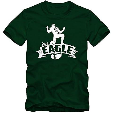 I'm a Eagle #7 Tee Shirt | Adulte Homme | Football | Super Bowl | Champion | American Sports | Fanshirt | T-Shirt, Couleur:Dunkelgrün (Bottle Green L190);Taille:Small