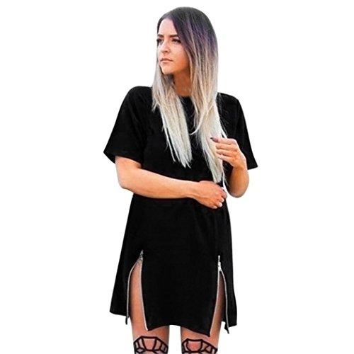 Yanhoo Schwingen Vintage Rockabilly  Frauen Mode Kurzarm Rundhals Doppel-Reißverschluss lange T-Shirt Kleid Cocktailkleid Cocktailkleid (Schwarz, S) (Band Empire-taille Mutterschaft)