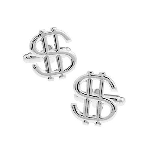 Bouton de manchette sigle dollars metal