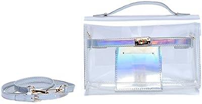 zarapack Mujer Transparente con holograma, bolso para el hombro bolso de mano Brief Case bolsa interior