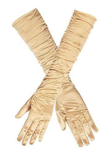 Handschuhe Hollywood Satin Gold Damen 40 cm - Toll zum Show Girl Charleston oder Diva Kostüm für Damen