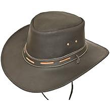 f92e0e812e0af Desconocido Negro 100% Piel Australiano Explorer Sombrero de Vaquero con  Piel Barbilla Ajustador