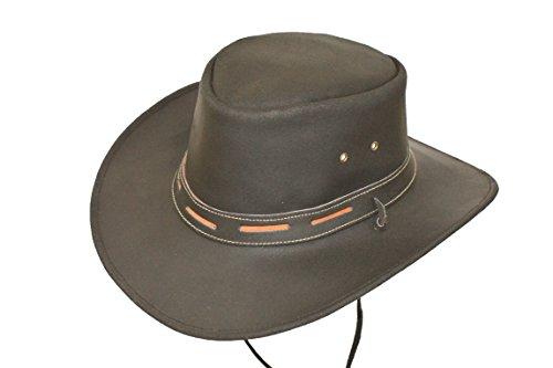 Negro 100% Piel australiano Explorer sombrero de vaquero con piel barbilla  Ajustador negro negro Small 0ef32cbc933