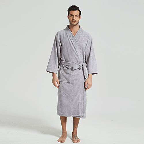 LIUY Mens Bademantel Robe Kimono, Plüsch mit Schalkragen Coral Fleece Super Soft bequemes, warmes Bademäntel for Männer (Color : Gray, Size : XL)