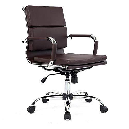 Stühle CJC Mitte Zurück Gerippt PU Leder Schwenken Einstellbar Designer Boss Manager Büro Konferenz Zimmer Arbeit Aufgabe (Farbe : Brown) -