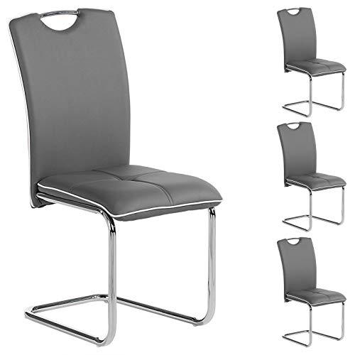 IDIMEX Schwingstuhl Freischwinger Stuhl Eleonora, in grau mit weißem Rand, Lederimitat