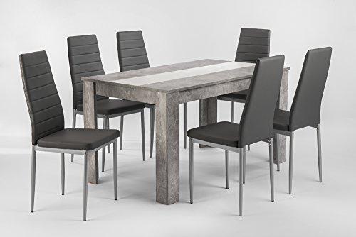 HOMEXPERTS Esstisch NICO P / Küchentisch 140 cm / Esszimmertisch / Tisch in Beton-Optik grau / Wendeplatte in der Mitte wahlweise Schwarz oder Weiß / 140 x 80 x 75 cm (L x B x H)