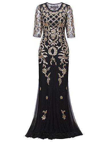 Vijiv Damen Vintage 1920er Jahre lange Hochzeits-Abschlussball-Kleider 03.02 Sleeve Sequin Partei Abendkleid xx-large/uk20/eu48 schwarzes gold